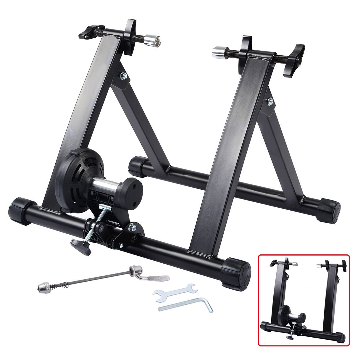 Walomes Bike Trainer Stationary Magnetic Exercise Bicycle Stand for Indoor Riding Portable with Noise Reduction Technology Cycle Products Indoor Portable Magnetic Work Out Bicycle Trainer