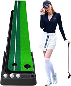 Wekin Green Mini Golf Putting Mat with Auto Ball Return, Dual-Track Putting Control Accuracy, Great for Home, Office, Indoor Outdoor Backyard Used, 9.8 ft X 11.8 Inch with 3 Balls