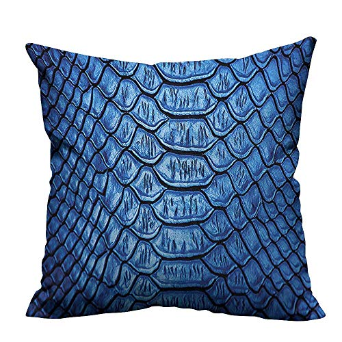 YouXianHome Zippered Pillow Covers Colored Snake Skin Pattern Alligator Fancy Luxury Leather Clothing Artwork Blue Decorative Couch(Double-Sided Printing) 17.5x17.5 -