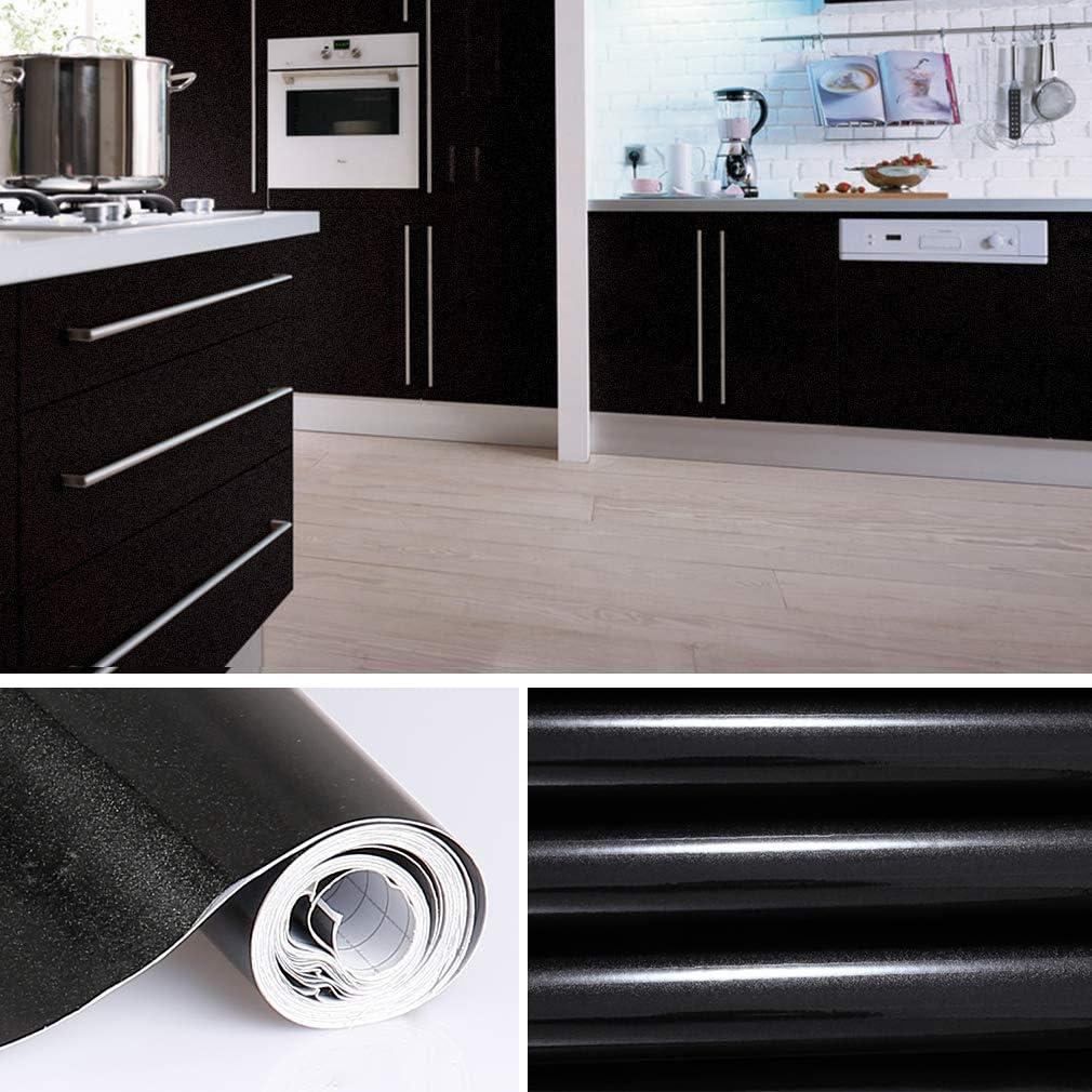 KINLO schwarz glanz M/öbelfolie 5x0.61M PVC Klebefolie K/üchenschrank Aufkleber Selbstklebend K/üchenfolie Deko Plotterfolie