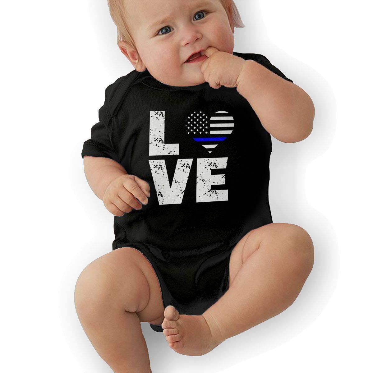 Fashion Love Thin Blue Line USA Flag Crawler Short Sleeve Cotton Bodysuit for Baby Boys and Girls