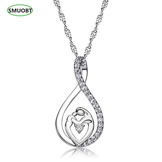 Sumo Mother Daughter Gift Necklace Baby Mom Heart Pendant For Women Girls Gifts