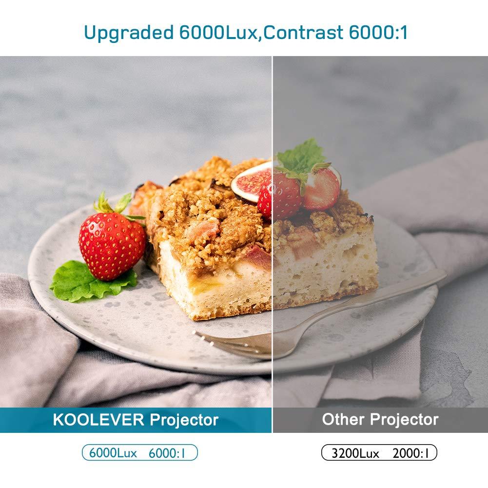 Presentaciones de Documentos,Juegos de F/útbol Proyector Full HD con Audio Est/éreo HiFi HDMI VGA AV USB Micro SD 6000 L/úmenes Soporta 1080P LCD Video Proyector Cine en Casa