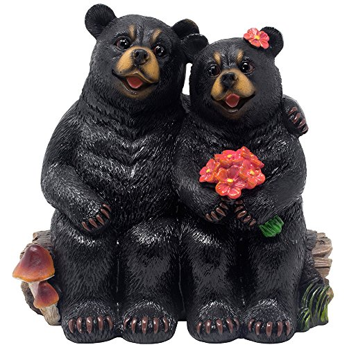 Black Bear Sweethearts on A Log Bench Figurine As Decorative Rustic Cabin or Lodge Decor Statues as Romantic Anniversary and Valentine's Day Gifts for Couples
