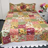 [Flowers Season] 100% Cotton 3PC Classic Floral Vermicelli-Quilted Patchwork Quilt Set (Full/Queen Size)