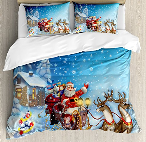Ambesonne Christmas Duvet Cover Set Queen Size, Santa in Sleigh with Reindeer and Toys in Snowy North Pole Tale Fantasy Image, Decorative 3 Piece Bedding Set with 2 Pillow Shams, Navy Blue