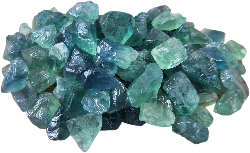 Yunhigh fluorita Natural Piedra Preciosa sin procesar Cristal de Cuarzo Piedra Bulto curación Varita Reiki Chakra Terapia de meditación Amuleto de protección - 10pcs, Verde