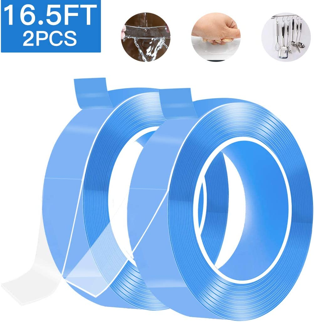 Nano Double Sided Tape 9.8ft Adhesive Removable Traceless Clear Sticky Stips Gel Grip Tape Anti-Slip Washable Reusable Sticky Gel Pads for Kitchen Holder Fixing Carpet Phones Pictures