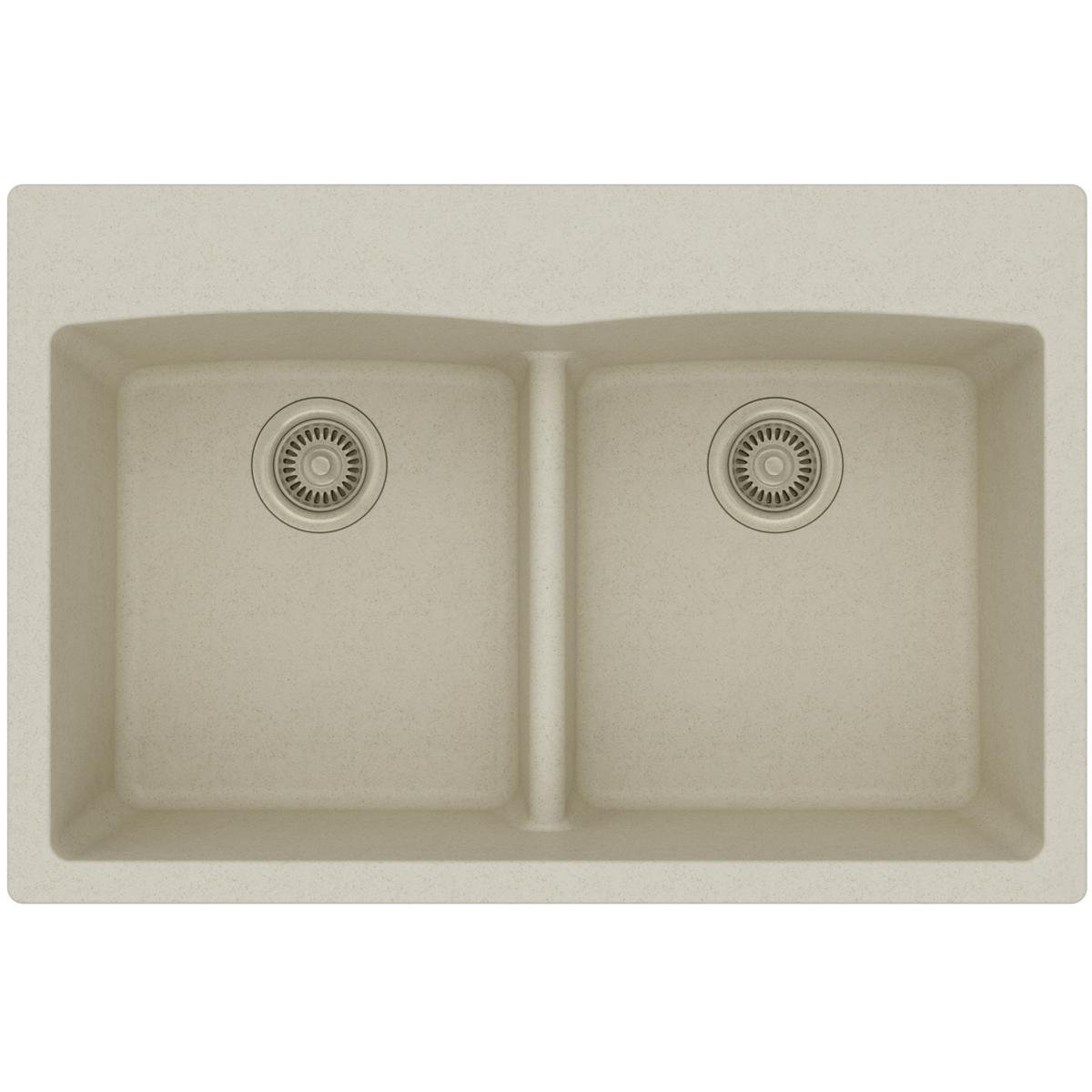 Elkay Quartz Classic ELGDLB3322BQ0 Bisque Equal Double Bowl Drop In-Sink with Aqua Divide