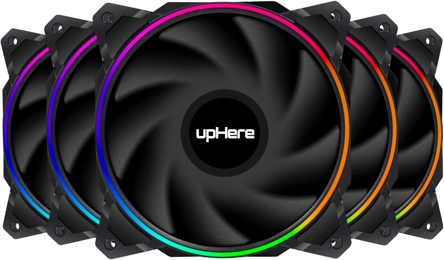 upHere - Ventilador de caja PWM RGB, 120 mm, con buje de ventilador RGB PWM, sincronización de placa base 5 V, ventilador de ordenador ARGB,modos de iluminación múltiples, 5 unidades (EN1207-5)