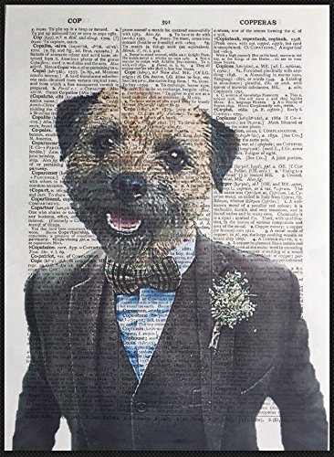 Parksmoonprints Border Terrier Print Vintage Dictionary Page Wall Art Picture Humanised Dog - Border Terrier Prints