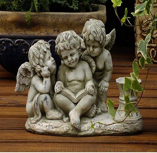 Estatuas para Jardín Decoración Linda del ángel De La Palmatoria Jardín Esculturas para La Yarda del Paisaje del Jardín Adornos Three Angel Candlestick ~33 * 16 * 21CM: Amazon.es: Hogar