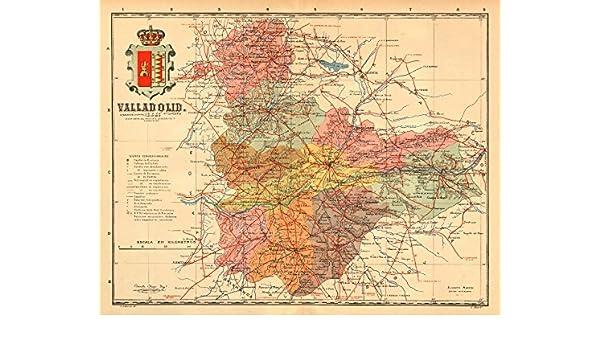 Map Of Spain Leon.Amazon Com Valladolid Castilla Y Leon Mapa Antiguo De La