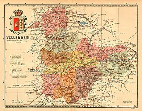 Amazon.com: Valladolid. Castilla y León. Mapa antiguo de la ...