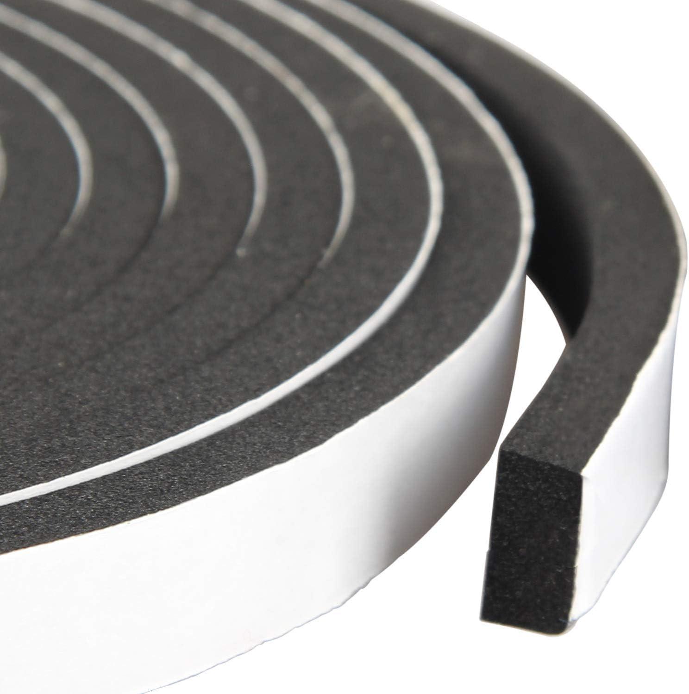 High Density Foam Tape Waterproof Sealing Strip CR Strips Neoprene Single-Sided Adhesive EVA Seal 1/2in X 1/4in X 13Ft