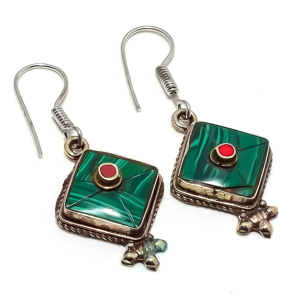 Handmade Jewellry Coral Silver Plated 5 Grams Earring 1.5 Nepali Work Green Malachite