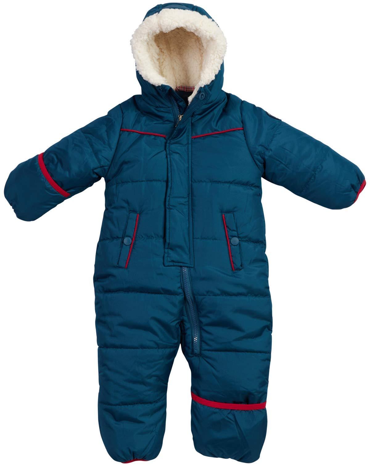 Ben Sherman Baby Boys Bubble Snowsuit Pram with Sherpa Hood, Sailor Blue, Size 12 Months' by Ben Sherman