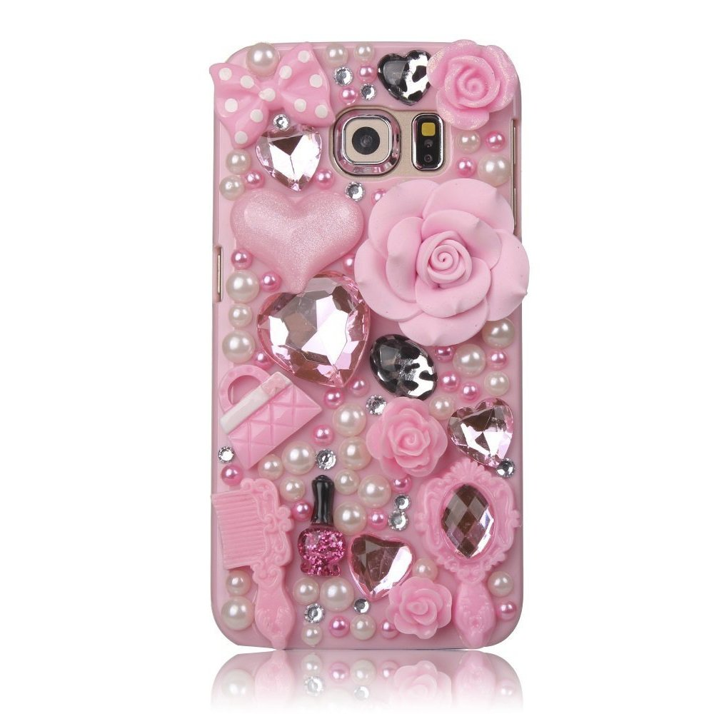 STENES Galaxy Note 8 Case - 3D Handmade Luxury Crystal Girls Cosmetic Big Rose Flowers Sparkle Rhinestone Design Cover Bling Case For Samsung Galaxy Note 8 With Retro Bows Anti Dust Plug - Pink