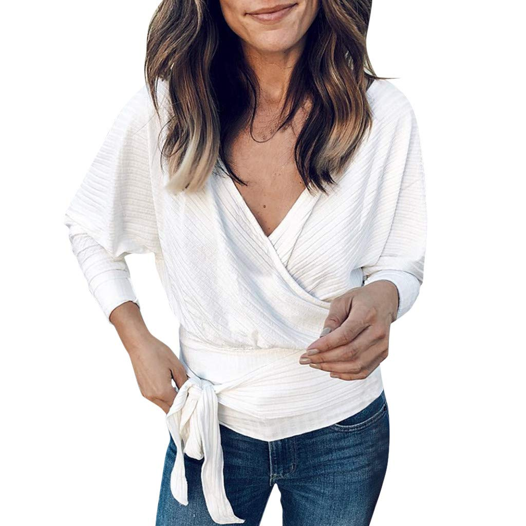 ✔ Hypothesis_X ☎ Women Ladies Casual V Neck T-Shirt Long Sleeve Sweater Tops Blouse Loose Fitting Bat Wing Bandage Shirts White by ✔ Hypothesis_X ☎ Top