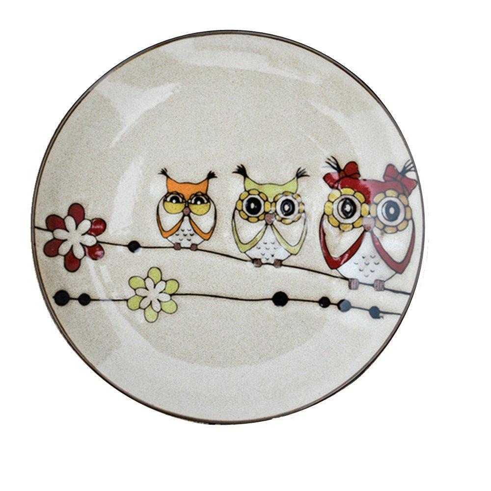 Bestcatgift Owl Pattern BoneChina Dinner Plate Ceramic Salad Dessert Plates,8 Inch, Multicolor Bone China Lunch Plates.