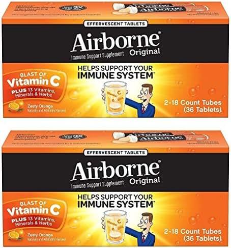 Airborne Zesty Orange Effervescent Tablets Vitamin C 1000mg x 36 Counts (2 Pack)
