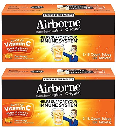 Airborne Zesty Orange Effervescent Tablets Vitamin C 1000mg x 36 Counts (2 Pack) (Airbourne The Very Best)