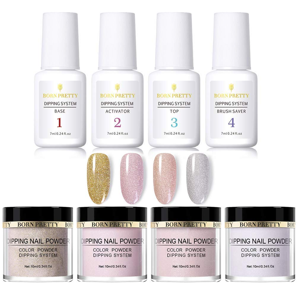 BORN PRETT Glittery Dipping Nail Powder 4Pcs With Dipping System Liquid Without Lamp Cure Nail Art Decoration Manicuring Starter Kit by Born Pretty