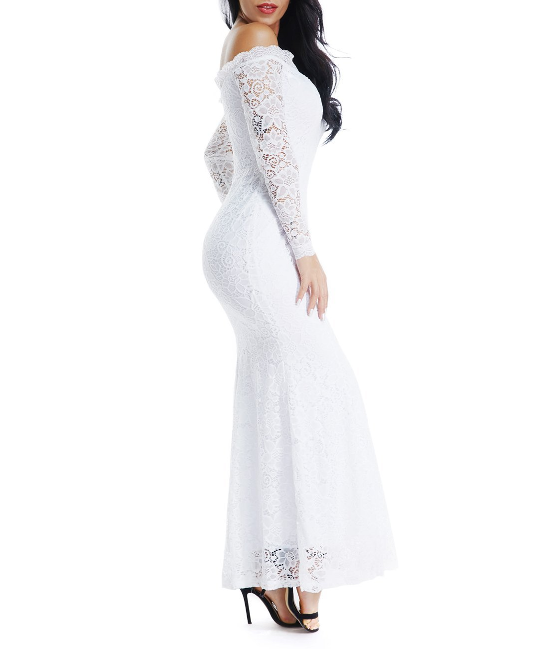 Lalagen Women's Floral Lace Long Sleeve Off Shoulder Wedding Mermaid Dress White1 S by Lalagen (Image #3)