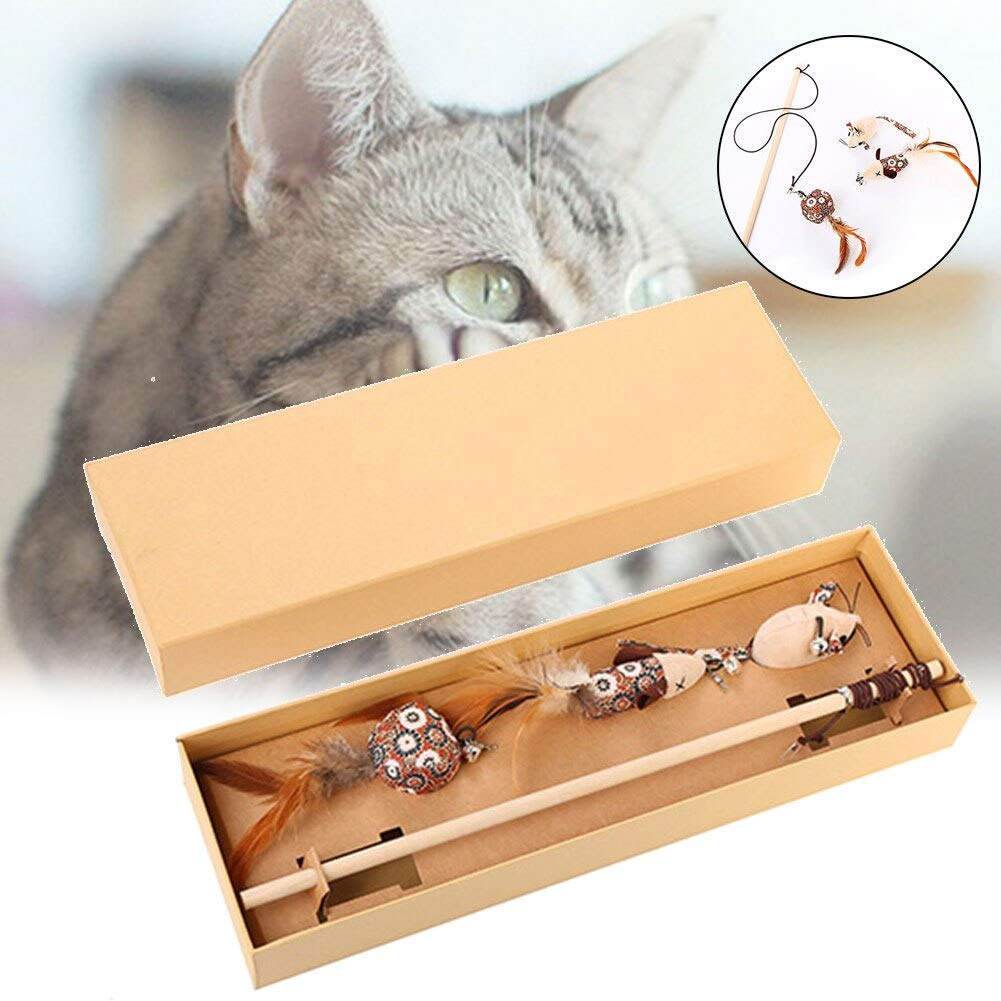 Can sleeve - Pet Cats Toy Teaser Stick Feather Bell String Toy with 3 Catnip Replace Head Floral elegant and funny cat stick gift box H99F