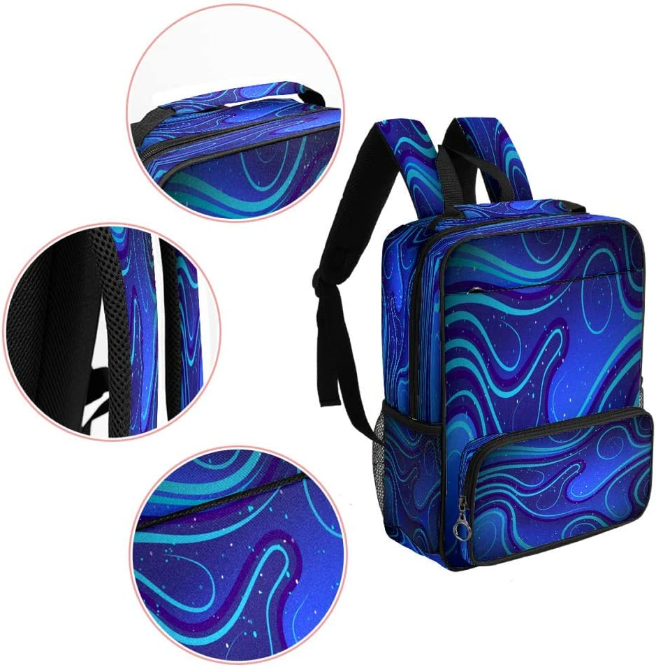 Casual School Backpack Wavy Abstract Blue Print Laptop Rucksack Multi-Functional Daypack Book Satchel