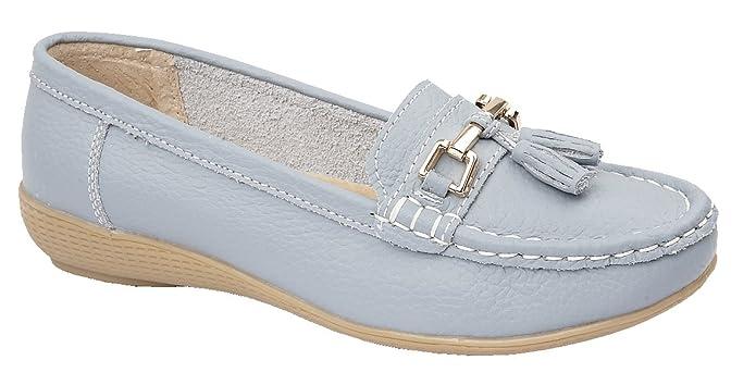 Jo & Joe Zapatos planos para mujer de piel con borlas, de estilo mocasín y marinero: Amazon.es: Zapatos y complementos
