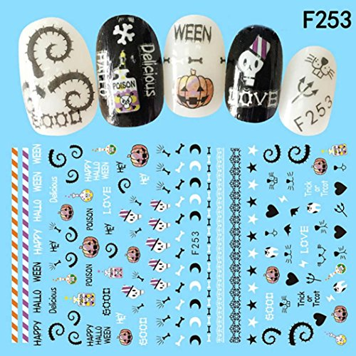 Ecurson Nail Art Decals Halloween Manicure Transfer Stickers Party Favors (C) (Halloween Pedicure Art)
