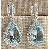 Sumanee Charm 925 Silver Aquamarine Gem Ear Stud Hoop Dangle Earrings Wedding Jewelry