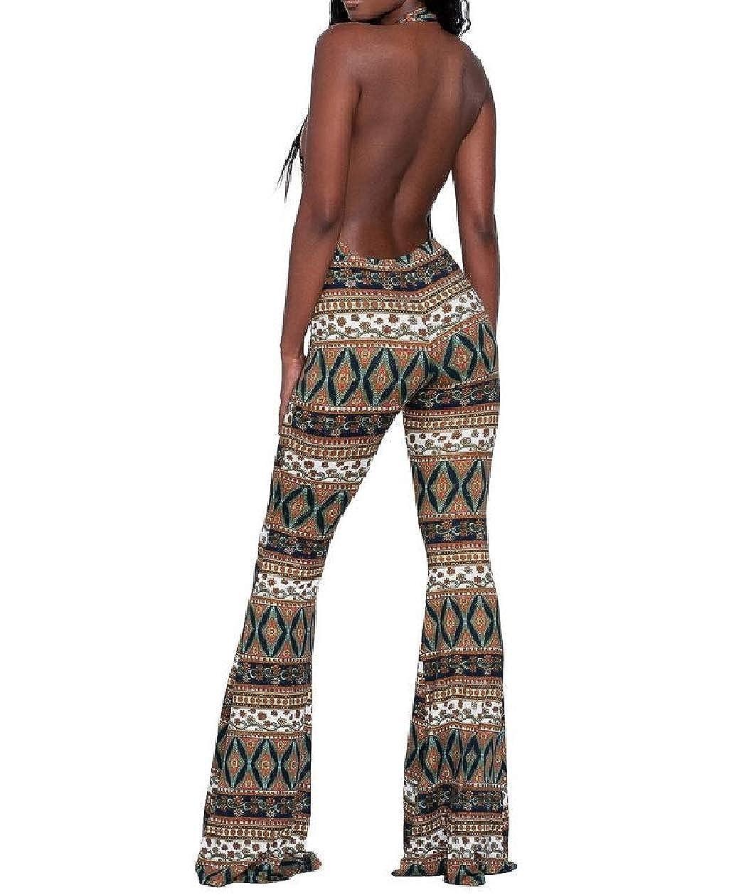 Zimaes-Women Wide Leg Halter Floral Printed Sleeveless Formal Jumpsuit