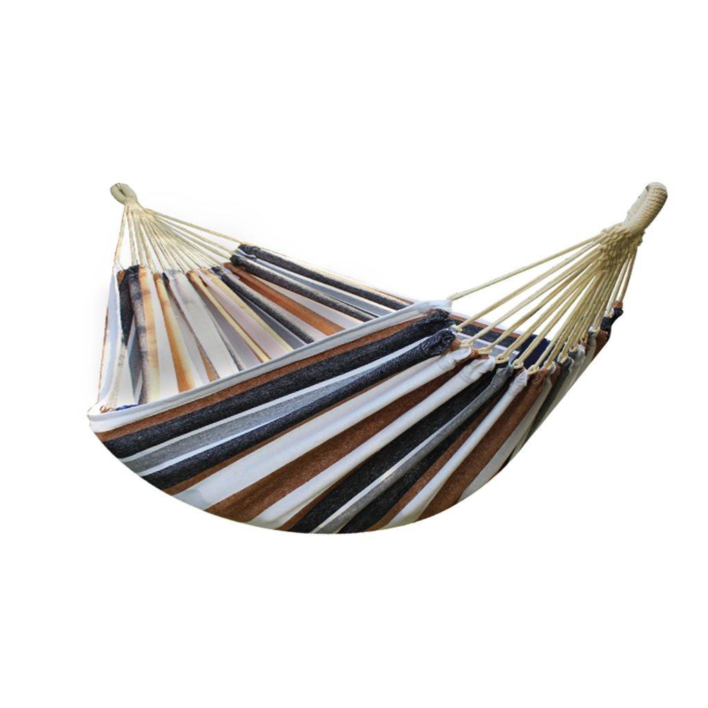 Zheng Hui Shop Doppel Hängematte im Freien Dicke Baumwolle Leinen Schlafsaal Hängematte Balkon braun gestreiften Schaukel (Size : 280 * 150cm/110.2 * 59.1inch)