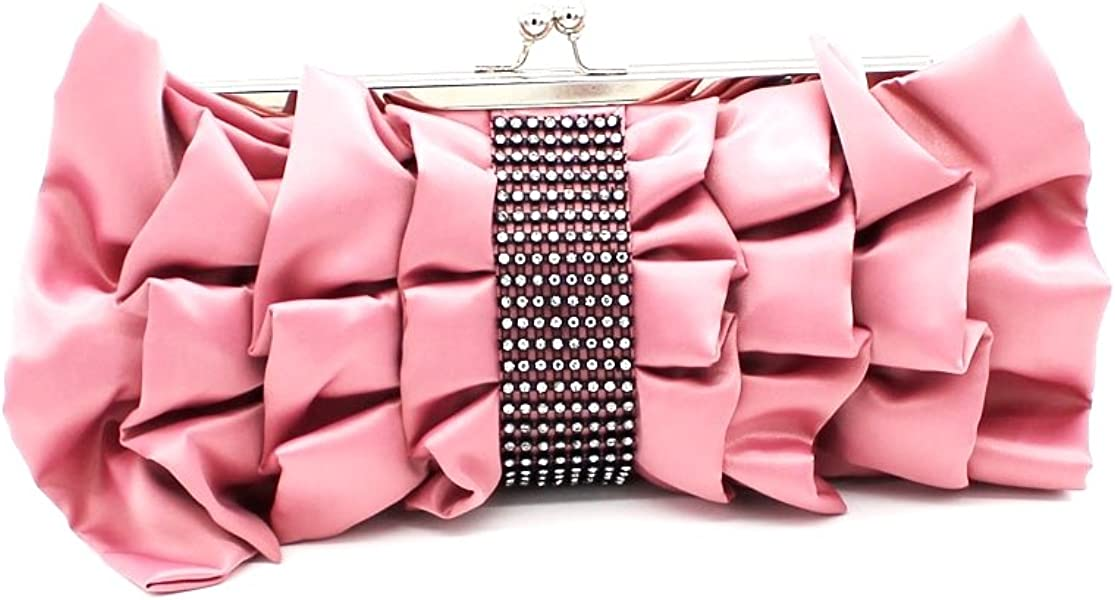 292142c15855e Kingluck Women Big Bowknot Elegance Satin Clutch Bag Hot Sale Lady Satin  Evening Bag (pink
