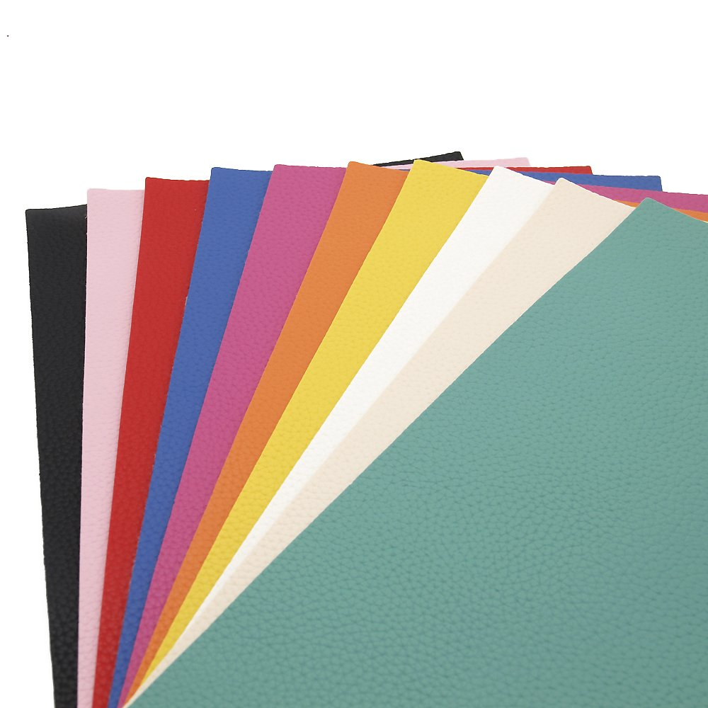 David accessories Solid Color PU Leather Fabric Plain Litchi Fabric Cotton Back 10 pcs 8'' x 13'' (20cm x 34cm) for Making Bags Craft DIY Sewing Assorted Colors(Bright Color) by David accessories (Image #2)
