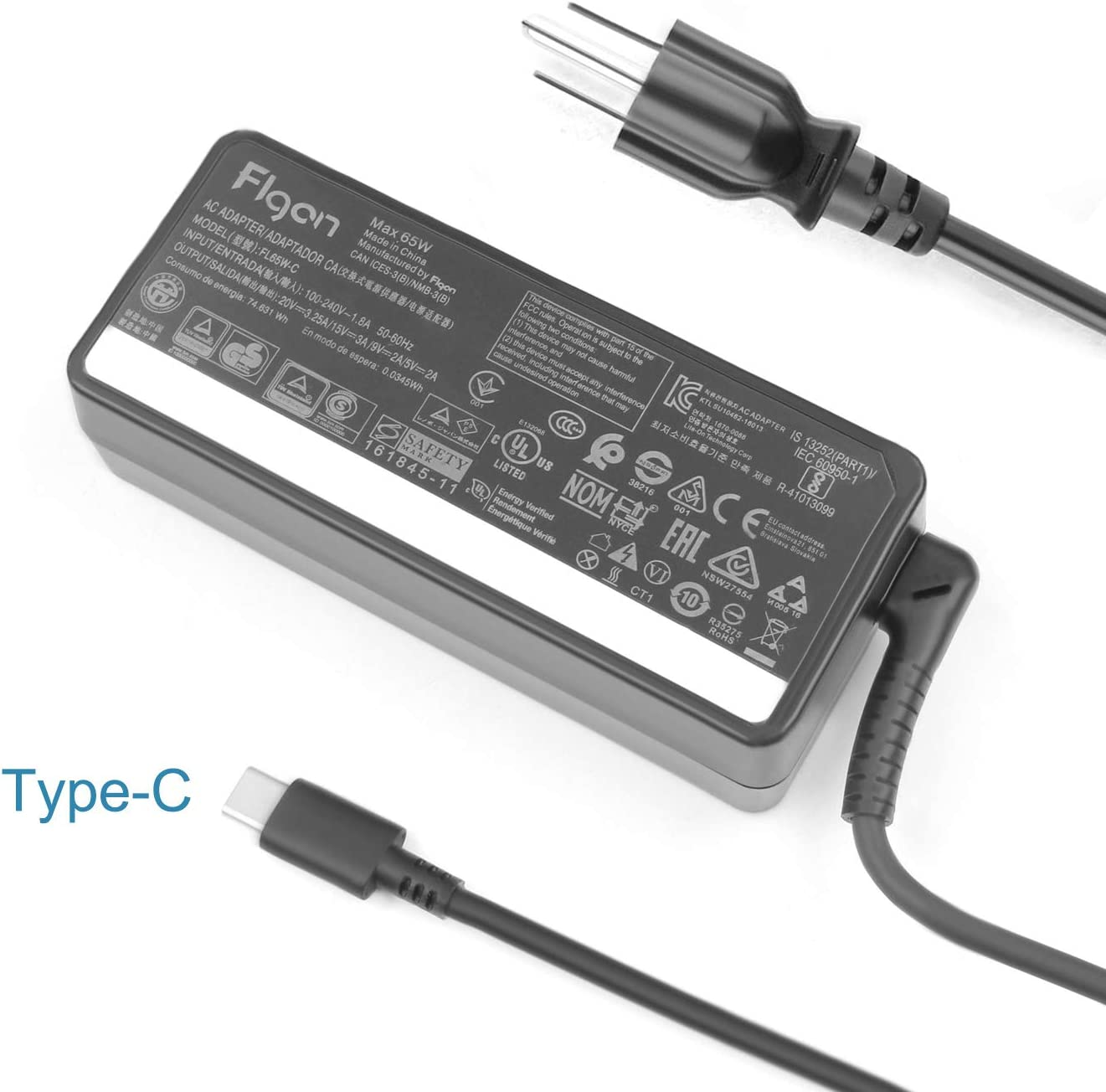 65W 45W USB-C Laptop Charger for Lenovo Yoga 920 C930 S940 S730 730-13IKB ThinkPad t490 t490s t590 p52s t480 t480s t580 t580p X1 Carbon 7th 5 6th Gen adlx65ylc3a adlx65ycc2a adlx65yac2a adlx65ydc3a