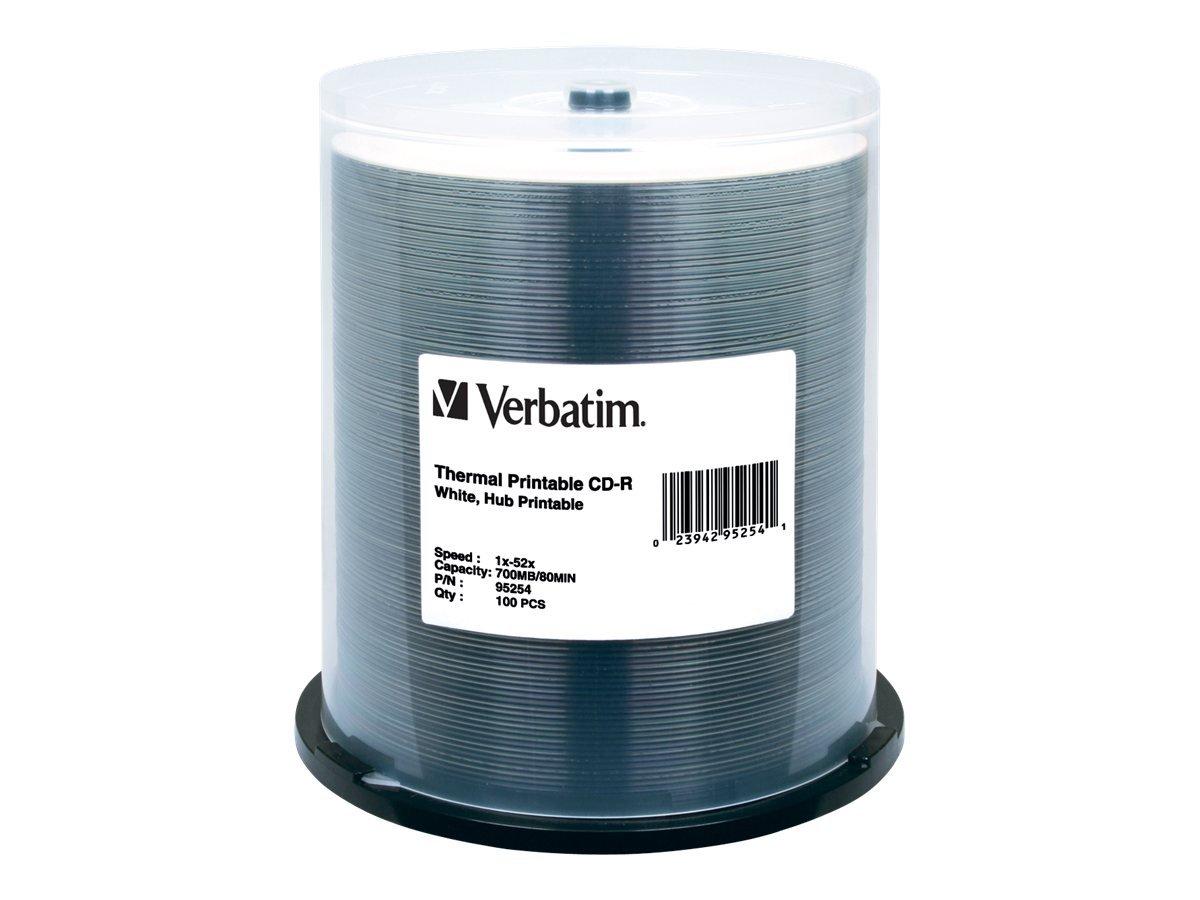 Verbatim CD-R 700MB 52X White Thermal Hub Printable Recordable Media Disc - 100pk Spindle VERBATIM CORPORATION 95254 Blank Media & Cleaning Cartridges