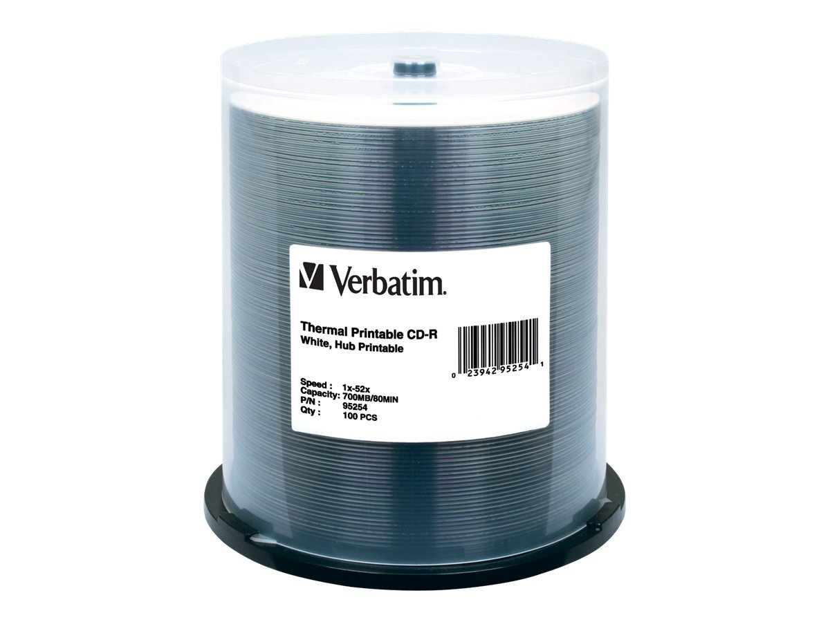 Verbatim CD-R 700MB 52X White Thermal Hub Printable Recordable Media Disc - 100pk Spindle