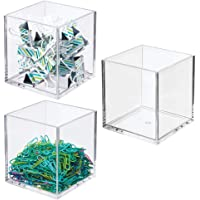 mDesign Plastic Square Home Office Storage Organizer Container - for Cabinets, Drawers, Desks, Workspace - Holds Pens…