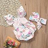 Canis Baby Girls' Full Flower Print Buttons Ruffles