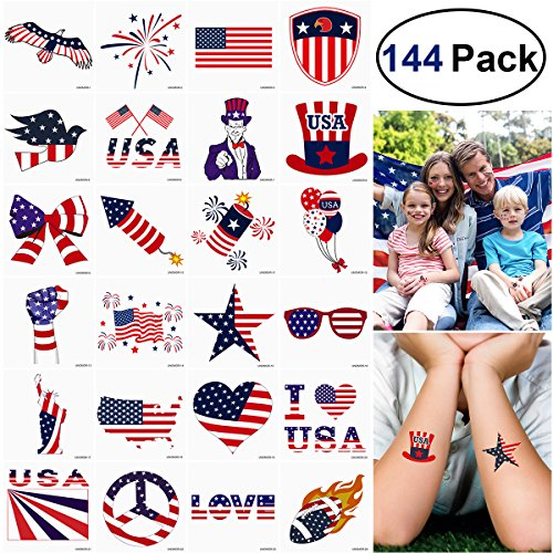 Unomor 144PCS 4th of July Tattoos Patriotic Stickers