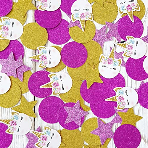 Unicorn Party Supplies Table Confetti - Original Unicorn Confetti Design - Perfect for Birthday Parties, Unicorn Birthday Themes, Weddings, Baby Showers etc. - 100 Pieces of Confetti.