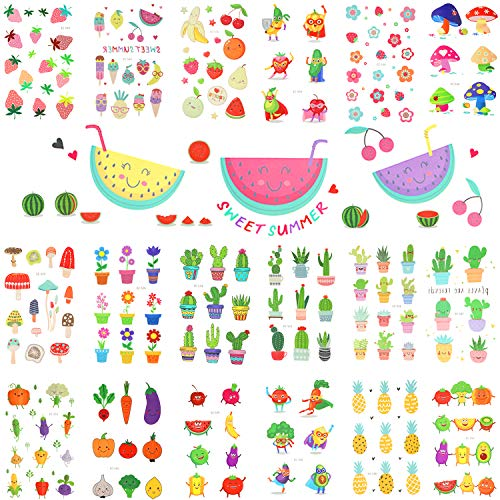 meekoo 20 Sheets Cartoon Temporary Tattoos Fruit Body Stickers Waterproof Stickers for Party Holiday Supplies