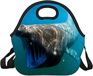 Neoprene Lunch Bag Swimming Basking Shark Insulated Picnic Tote Boxes Backpack for Women Men Kids Detachable Strap Style with Zipper