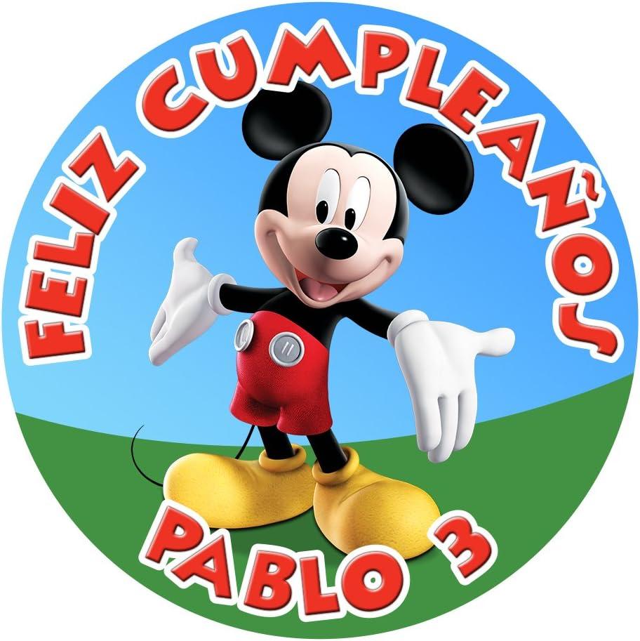 OBLEA de Papel de azúcar Personalizada, 19 cm, diseño de Disney Mickey Mouse Clubhouse