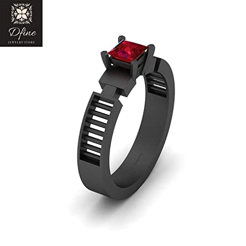 44832e2d7f2 Amazon.com  Kylo Ren Inspired Wedding Band Solitaire Ruby Star Wars  Inspired Ring Solid 18k Gold  Handmade