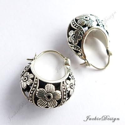 Cherry Blossom Flower Hobo Hoop Oxidized Sterling Silver Earrings JD104