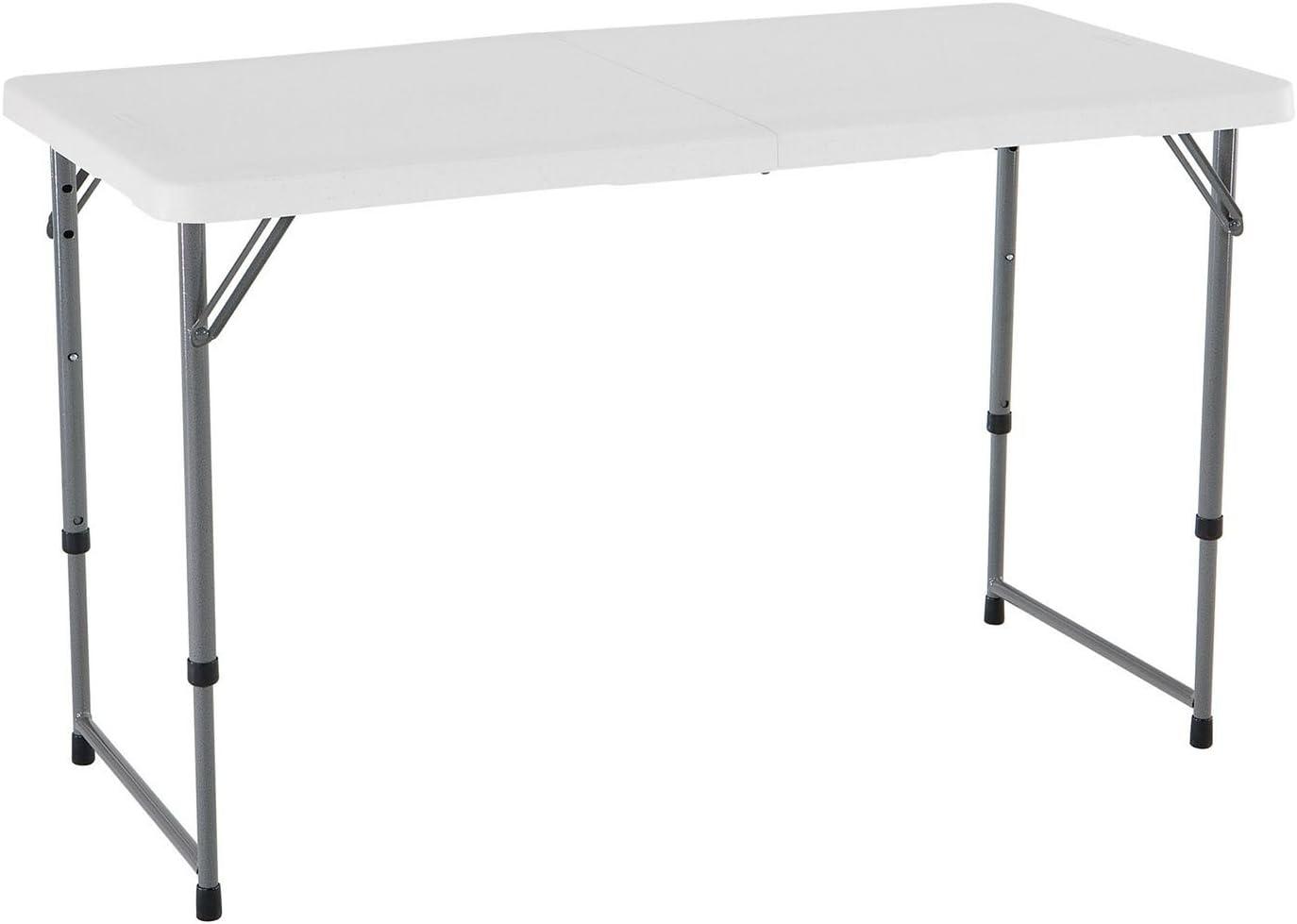 Lifetime 4' Light Adjustable Fold-in-half Commercial Grade Table, White Granite